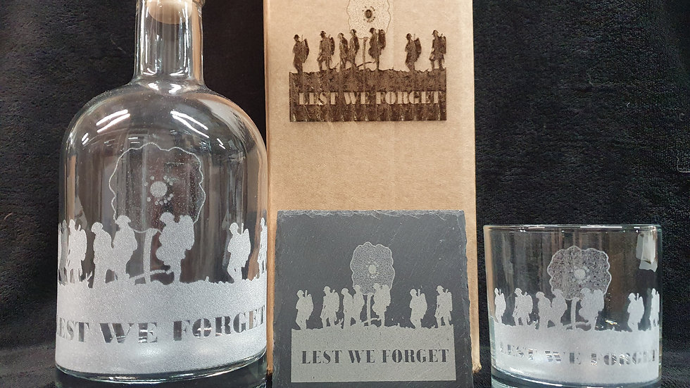 Lest We Forget decanter gift box set can be personalised