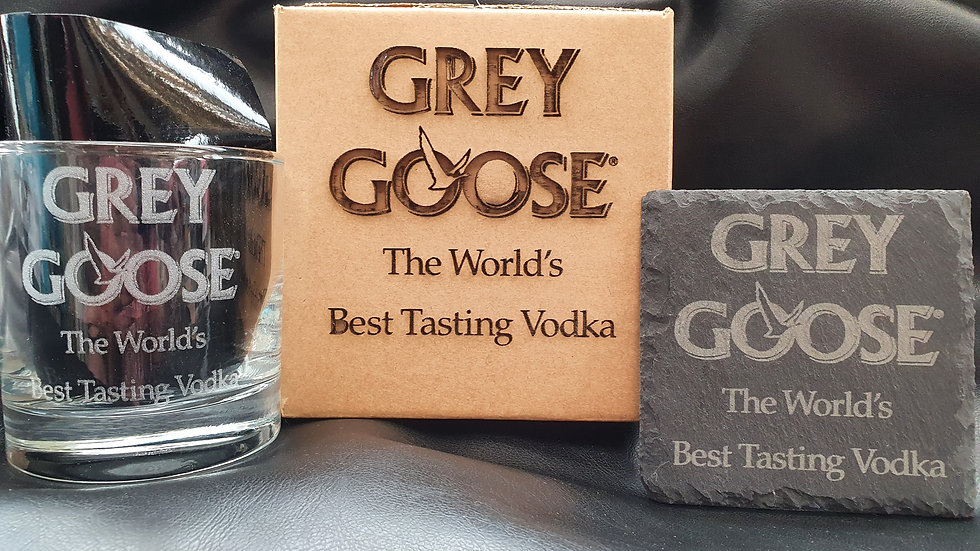 Grey Goose Vodka Tumbler Glass with slate Coaster gift set
