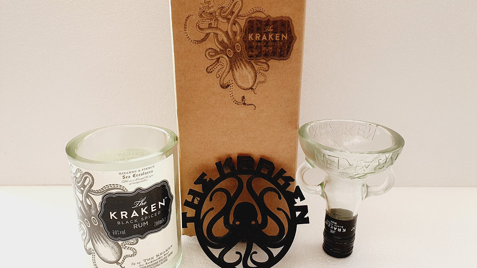 Kraken Glass gift box set can be personalised with message .