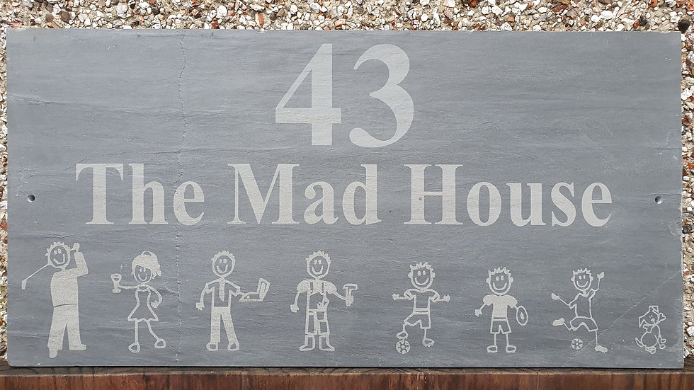 Slate House Sign 60cm x30cm Large Plaque Stick Family Personalised