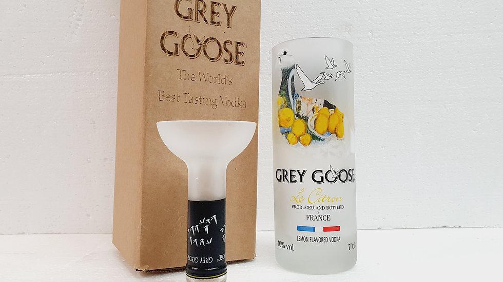 Grey Goose Lemon Vodka Bottle Upcycled Glass Gift Set handmade can be p