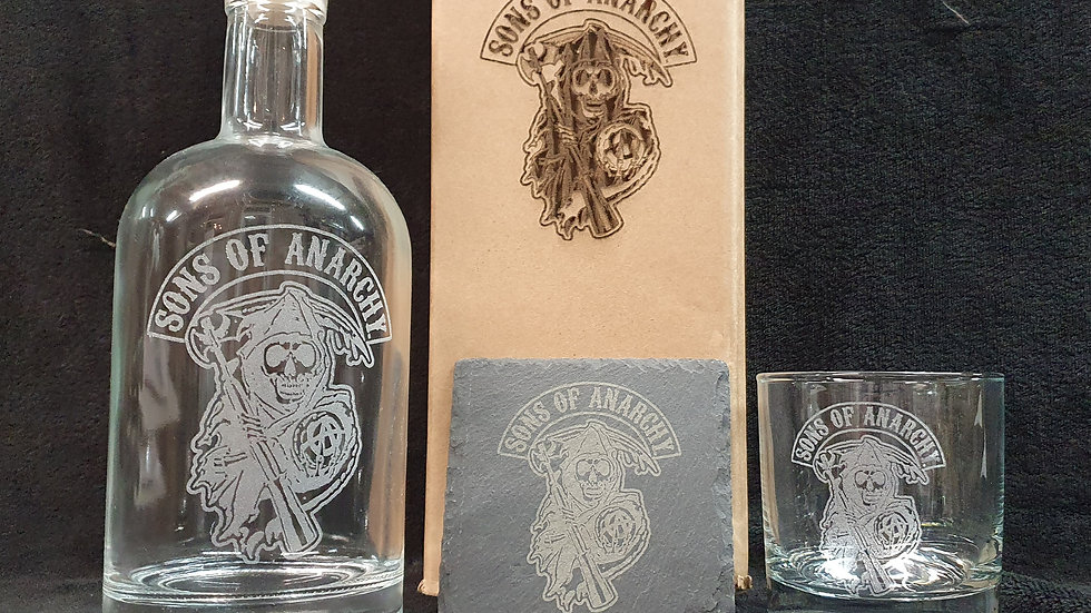 Sons of Anarchy Reaper decanter gift box set for 2 can be personalised