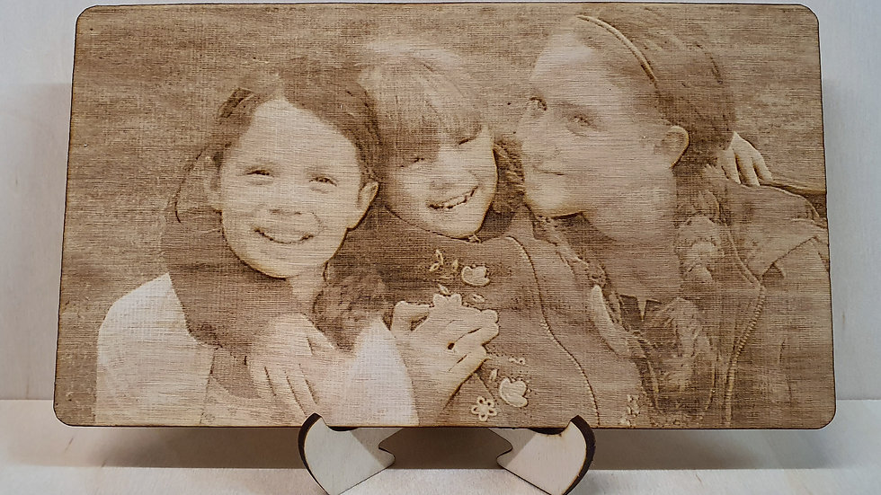 Photos laser engraved and Personalised onto wood with Stand