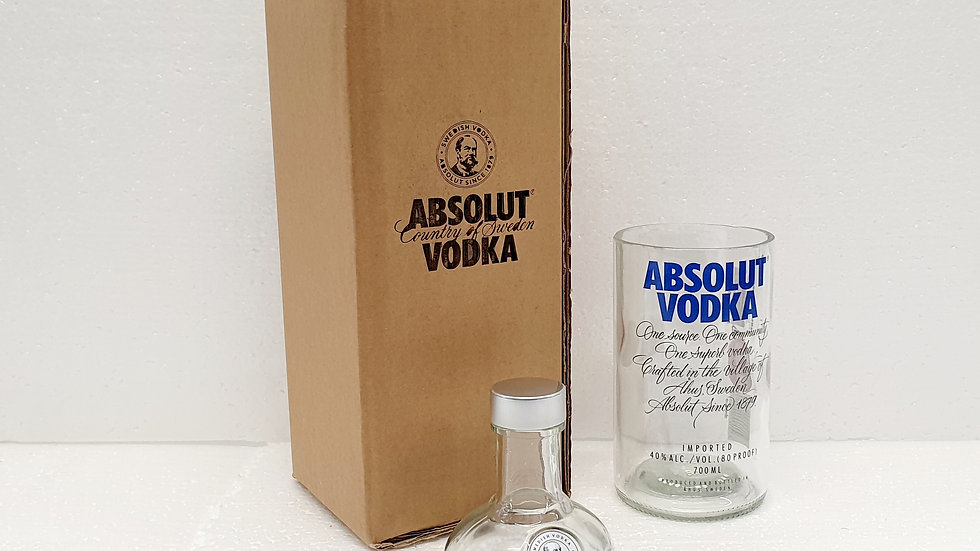 Absolut Vodka Bottle Gift Box Set Upcycled Glass handmade can be personalised