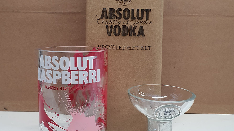 Absolut Vodka Bottle Raspberi Gift Box Set Upcycled Glass handmade can be person