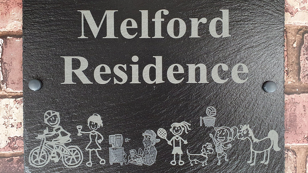 Slate House Sign 40cm x 20cm Plaque Stick Family Personalised with fixin