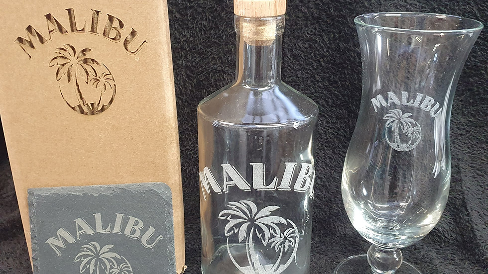 Malibu decanter gift box set can be personalised