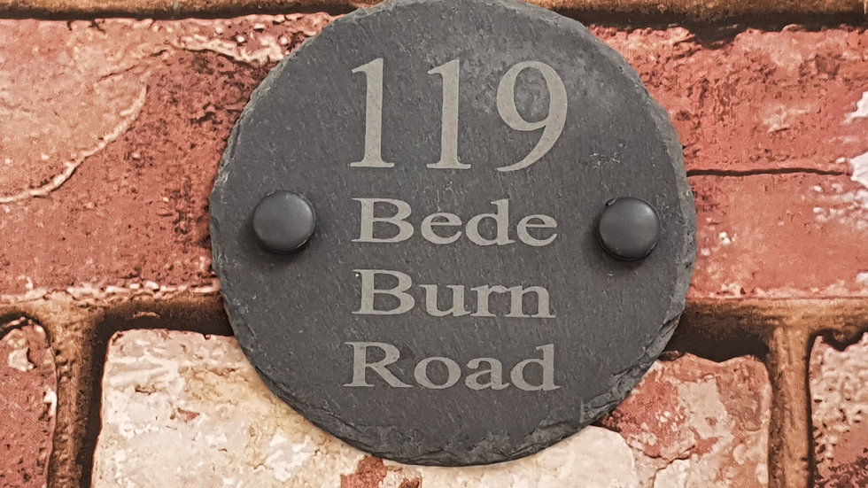 Slate House Sign 10cm dia circle Plaque Personalised Laser Engraved & Fixing