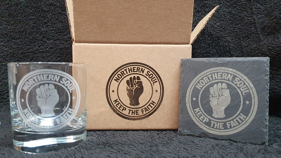 Northern Soul Tumbler Glass with slate Coaster gift box set can be personalised
