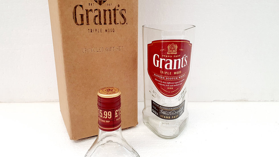 Grants Whisky Bottle Upcycled Glass Gift Set handmade