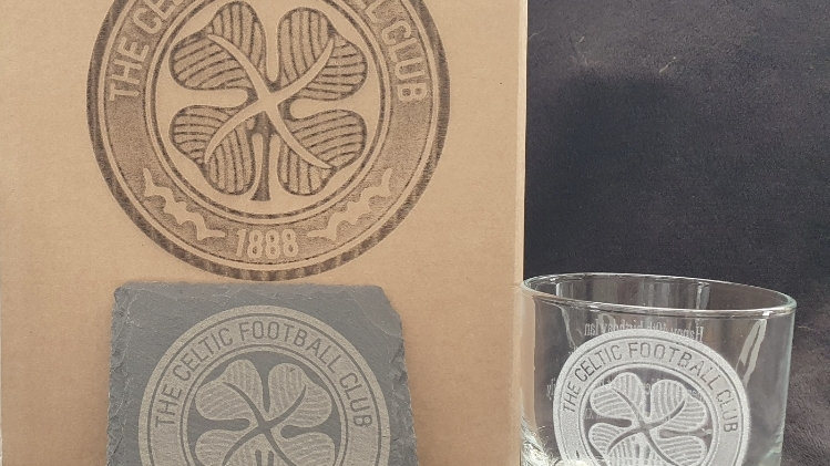 Football Club Tumbler glass and slate gift box set can be personal