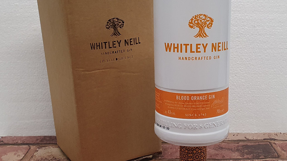 Whitley Neill Blood Orange Gin Bottle Gift Box Set Upcycled Glass handmade