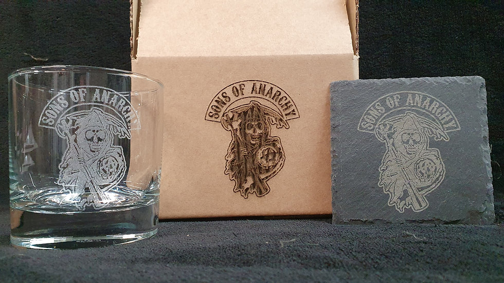 Sons of Anarchy Reaper Tumbler Glass with slate Coaster gift box set