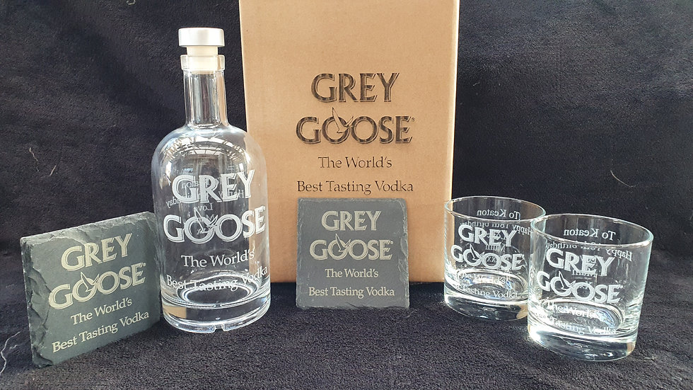 Grey Goose decanter gift box set for 2 can be personalised