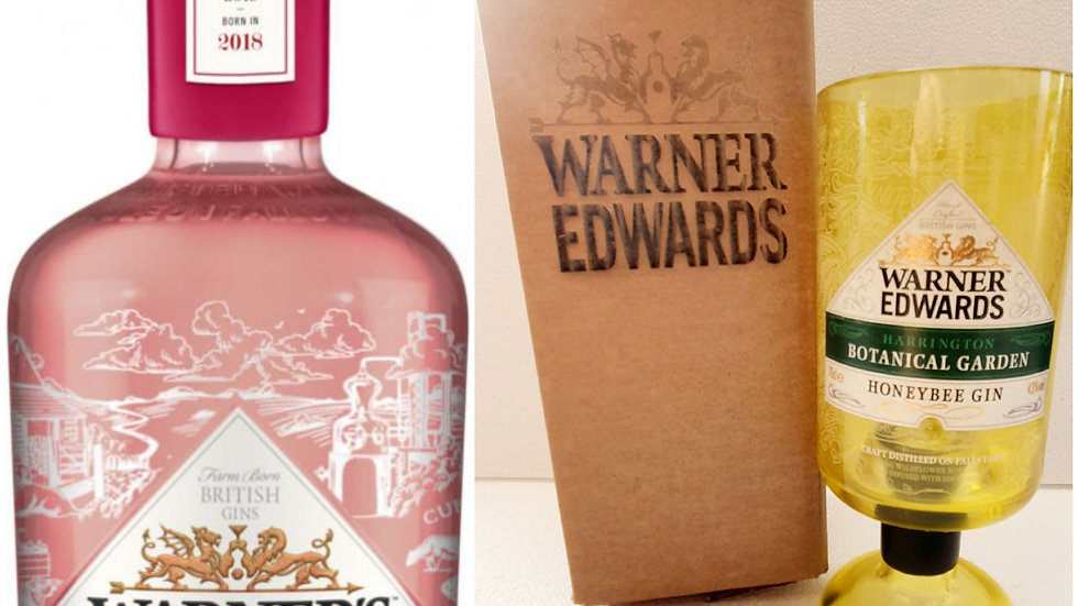 Warner Edwards Gin Bottle Gift Box Sets all types Upcycled Glass handmade