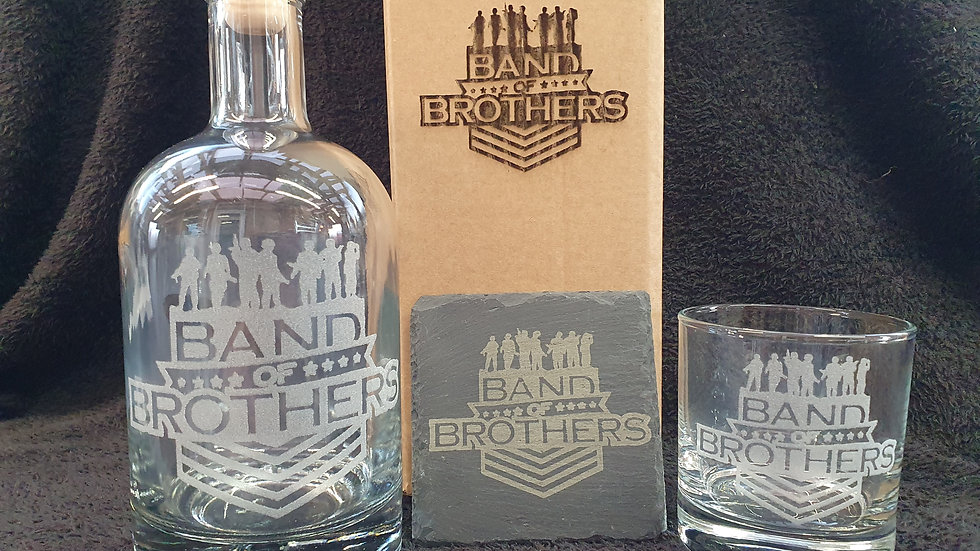 Band of Brothers decanter gift box set can be personalised