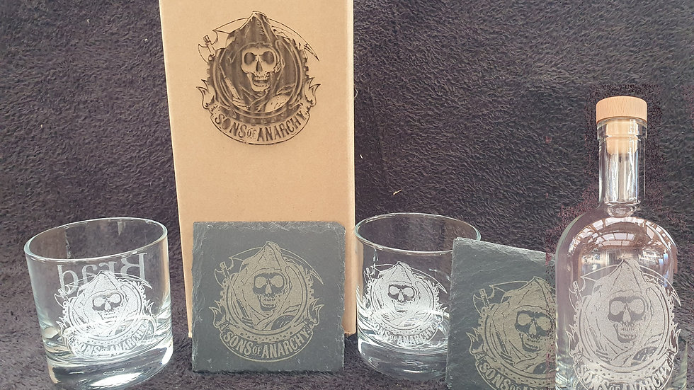Sons of Anarchy decanter gift box set for 2 can be personalised