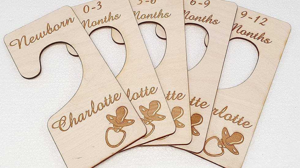 Baby Clothes Wardrobe Closet Dividers. Personalised and Lasercut. Newborn to 12