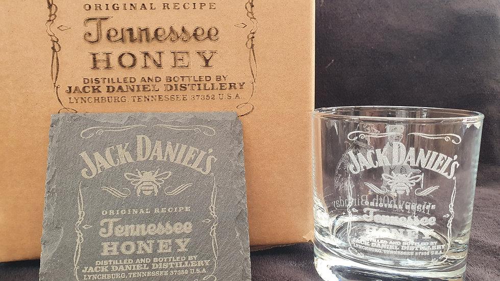 Jack Daniel's Honey Tumbler Glass with slate Coaster gift box set