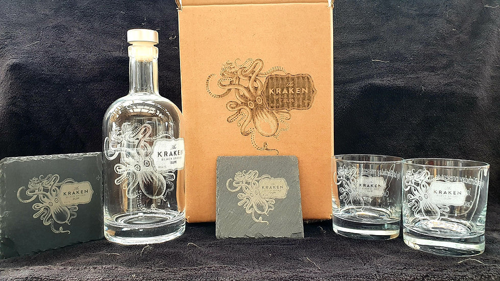 Kraken decanter gift box set for 2 can be personalised