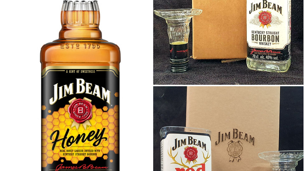 Jim Beam Upcycled Glass Gift sets can personalise