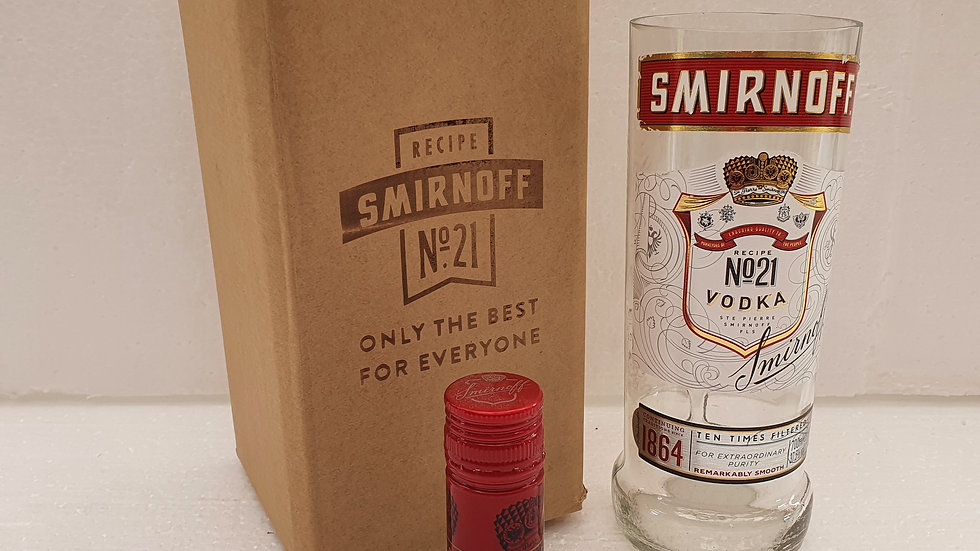Smirnoff Vodka Bottle 70cl Gift Box Set Upcycled Glass can be personalised