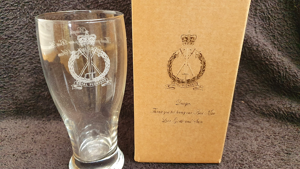 Personalised clear glasses gift set with laser etched message, pictures or logos