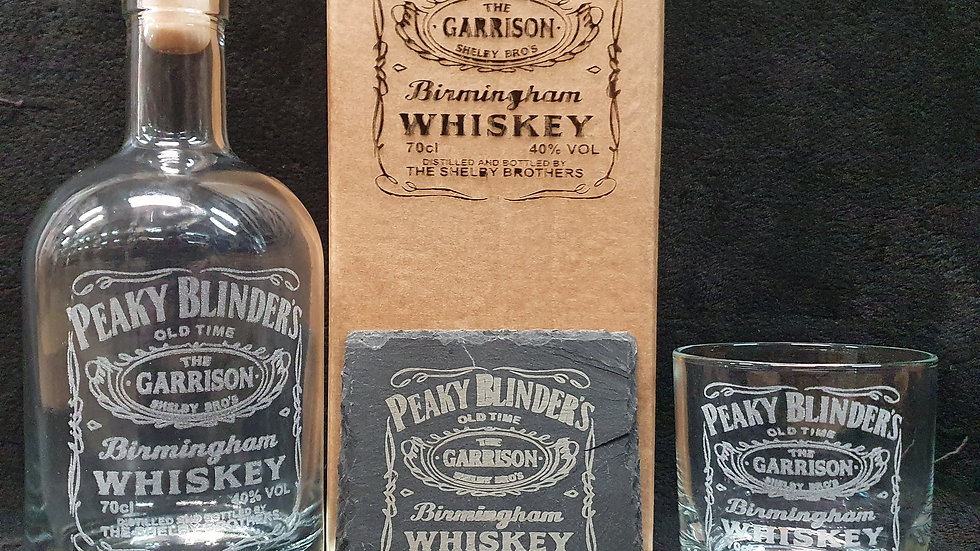 Peaky Blinders Whisky decanter gift box set can be personalised