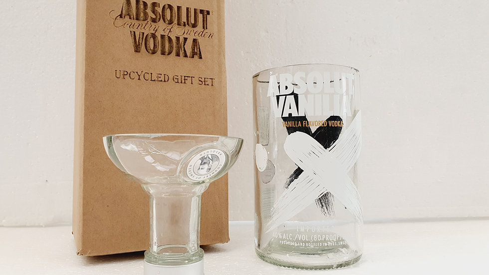 Absolut Vodka vanilla Bottle Gift Box Set Upcycled Glass handmade can perso