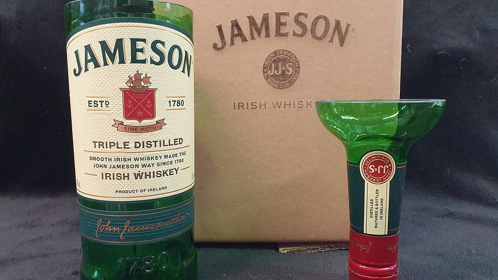 Jameson Whisky Bottle 70cl Gift Box Set Upcycled Glass handmade can pe