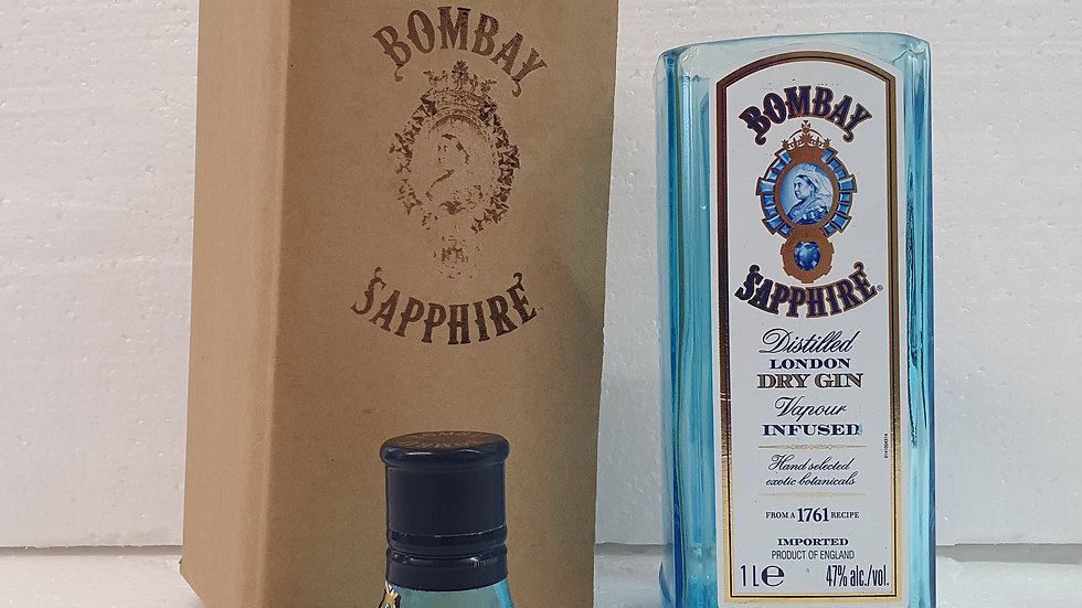 Bombay Sapphire Gin Bottle 1L Gift Box Set Upcycled Glass handmade can pers