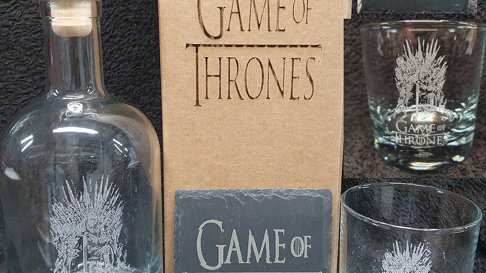 Game of Thrones decanter gift box set for 2 can be personalised