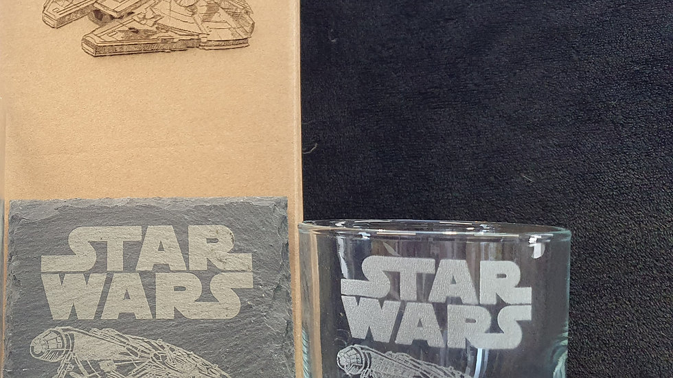 Star Wars Millennium Falcon glass and slate gift box set can be personalised