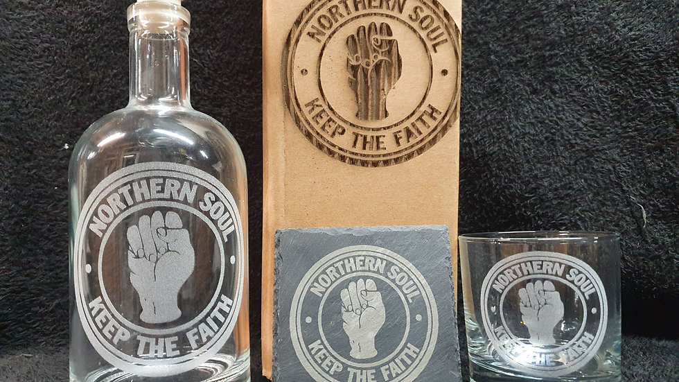 Northern Soul decanter gift box set can be personalised