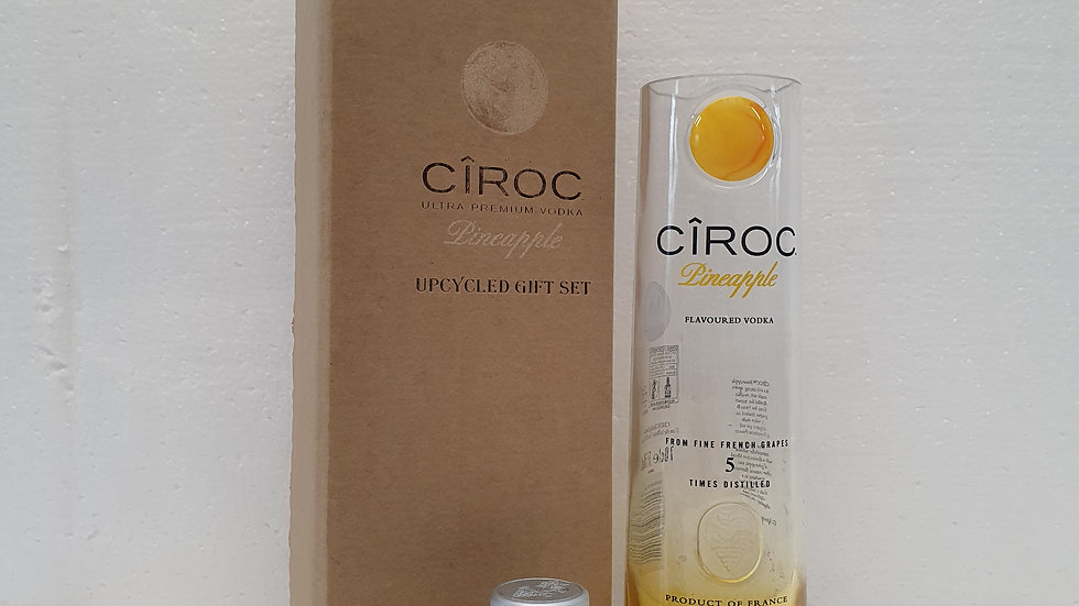CIROC Vodka Pineapple Bottle Gift Box Set Upcycled Glass handmade can person