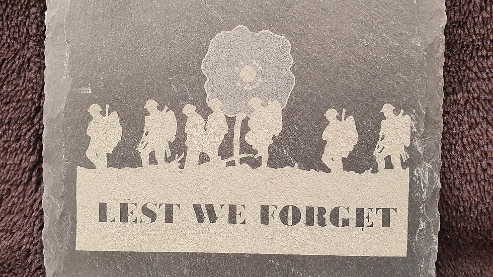 Lest We Forget Slate coasters 10cm x 10cm