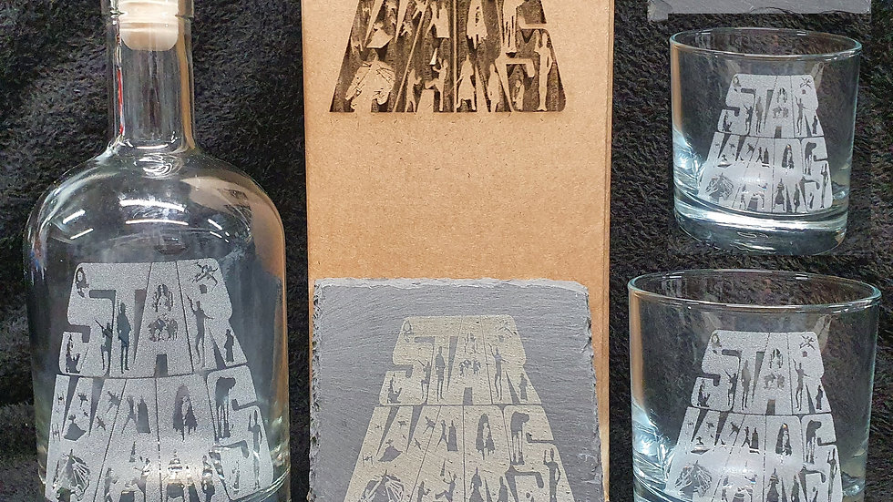 Star Wars decanter gift box set for 2 can be personalised present