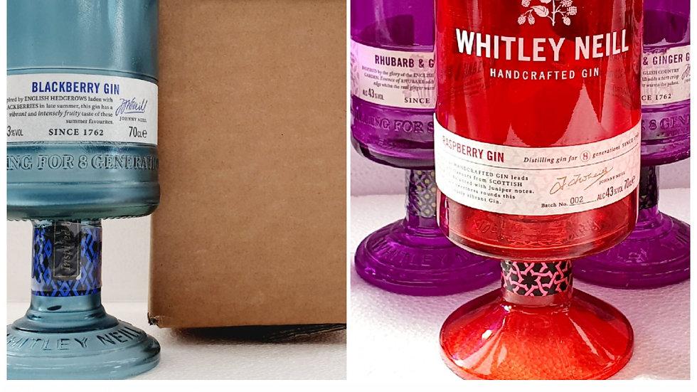 Whitley Neill Gin Bottle Glasses Gift Box Set Upcycled Glass handmade
