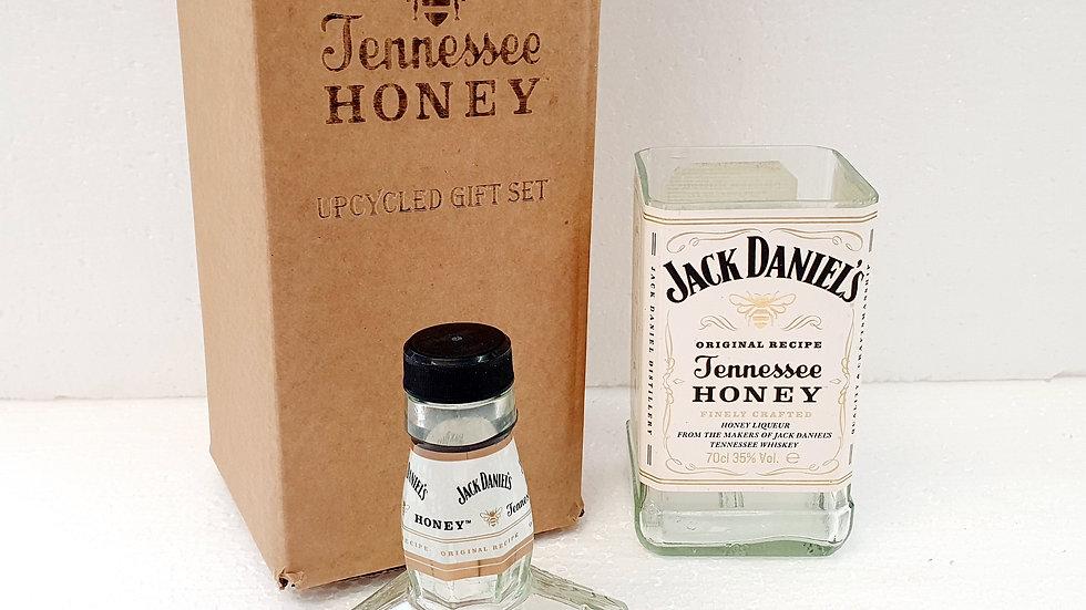 Jack Daniel's Honey Whisky Bottle Upcycled Glass Gift Set handmade