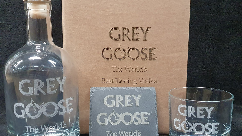 Grey Goose decanter gift box set can be personalised