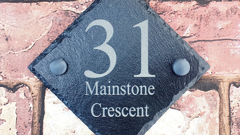 Slate House Sign Plaque 135mm x 135mm Personalised Laser Engraved & Fixing