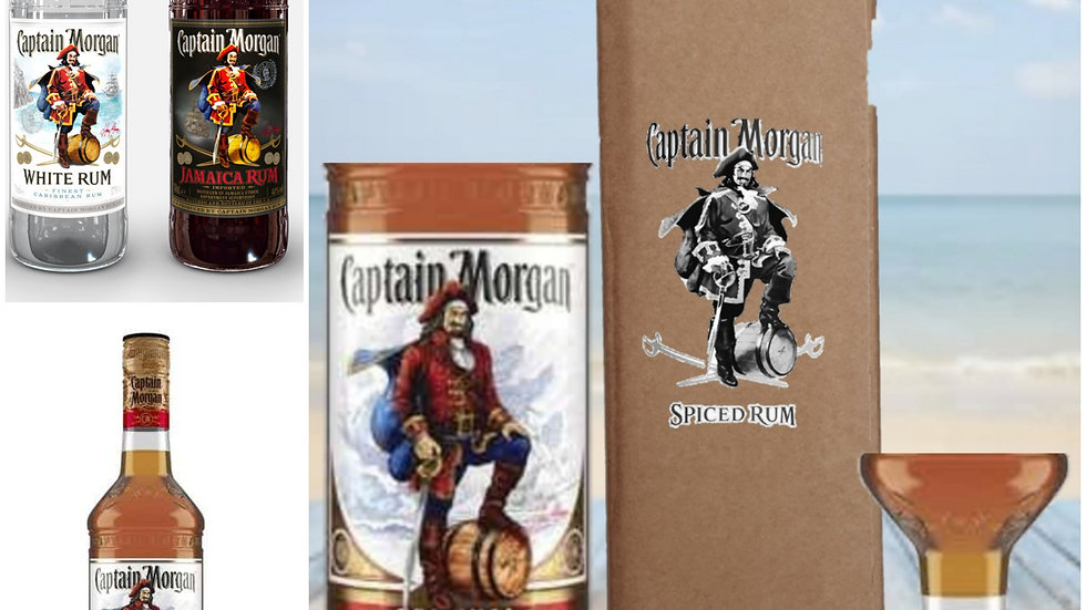 Captain Morgan Glasses all flavours Gift Box Set Upcycled Glass handmade persona
