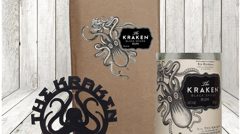 Kraken Glass with Coaster gift box set personalised Upcycled and 3d printed