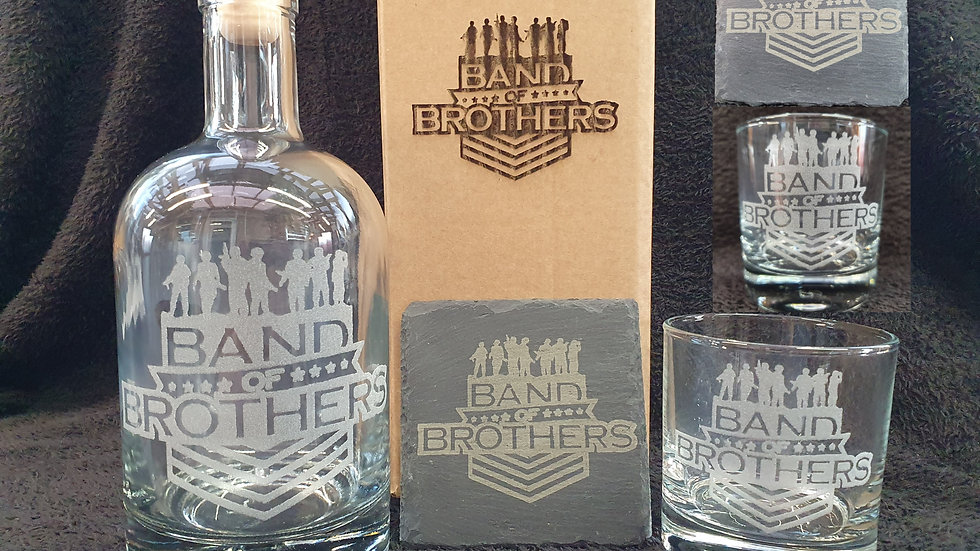 Band of Brothers decanter gift box set for 2 can be personalised