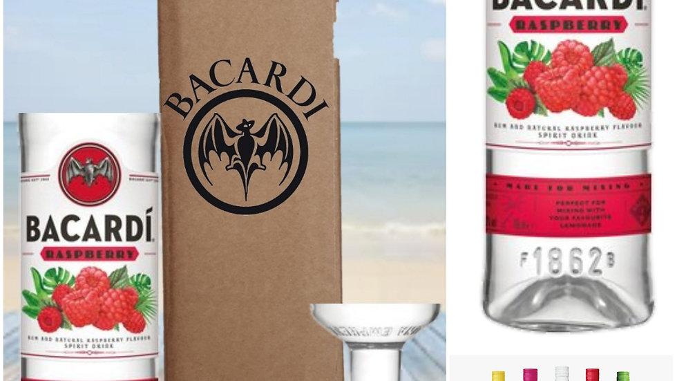 Bacardi Glasses all colours Gift Box Set Upcycled Glass handmade