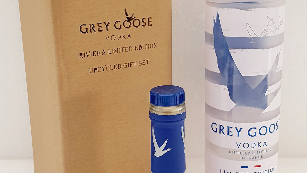Grey Goose Riviera special edition Vodka Bottle Upcycled Glass Gift Set handmade