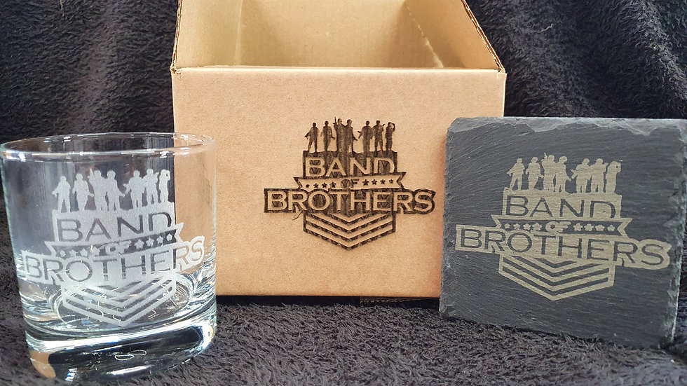 Band of Brothers Tumbler Glass with slate Coaster gift box set