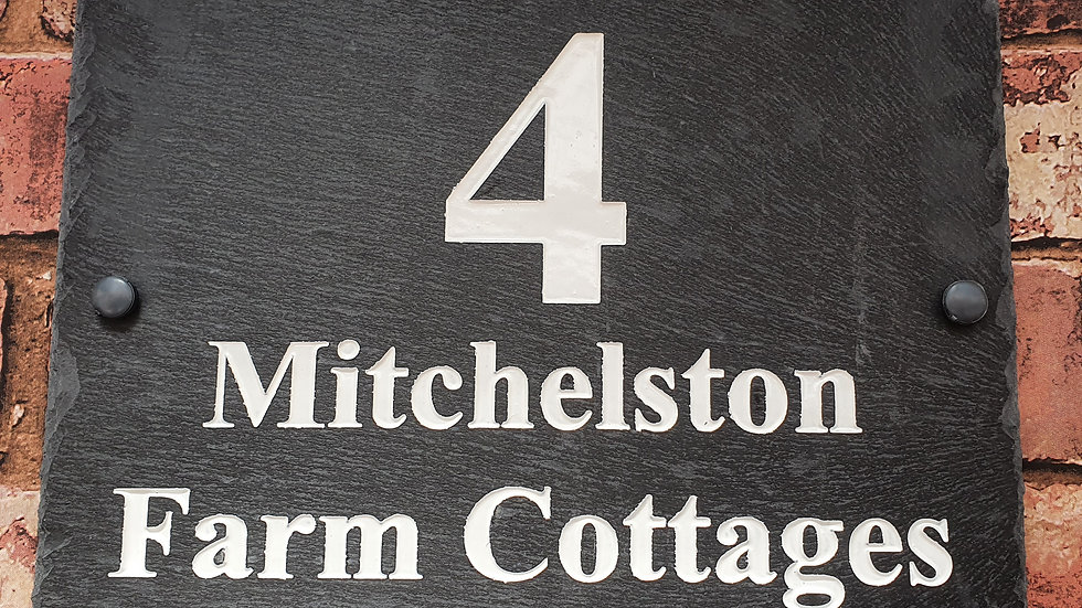 Slate House Sign Plaque Deep Engraved Painted 29cm x 21cm Personalised