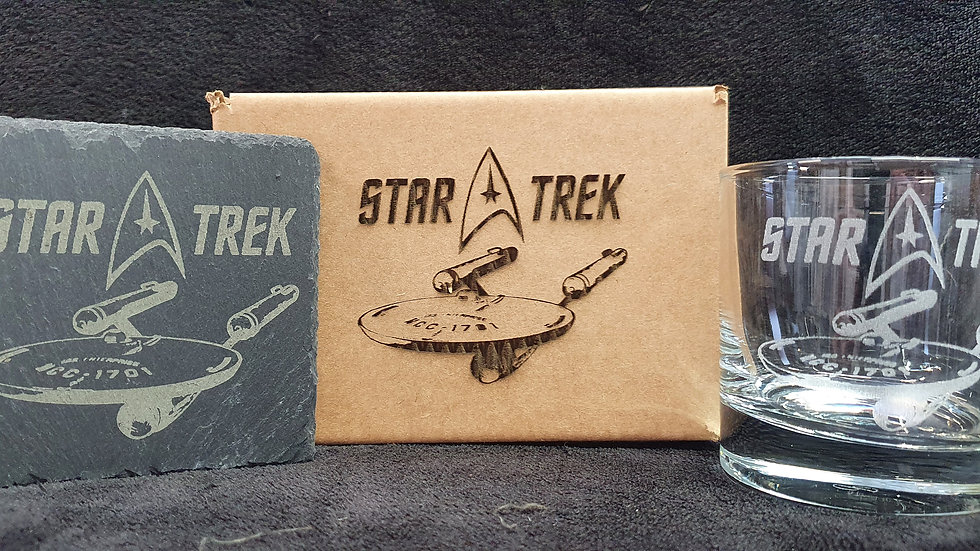 Star Trek Glass gift box set can be personalised