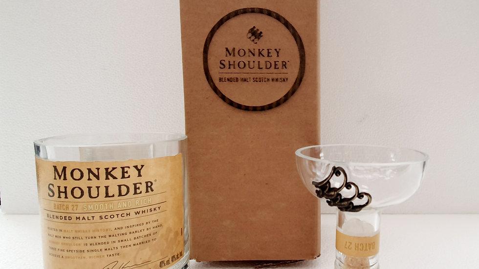 Monkey Shoulder Whisky Bottle Gift Box Set Upcycled Glass